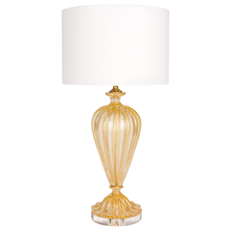 Barovier Murano Gold Glass Lamp