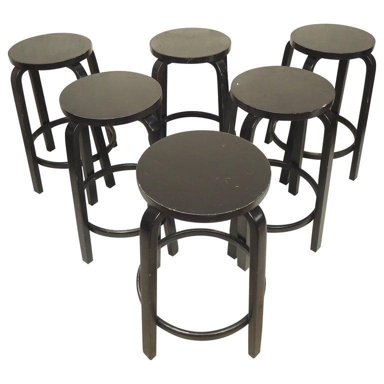 Set of Six Stools by Artek For Sale