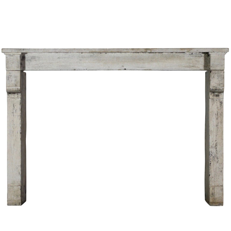 19th Century Fine French Rustic Limestone Antique Fireplace Surround For Sale