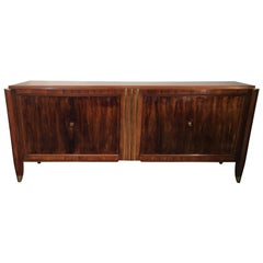 Art Deco Sideboard in Walnut and Bronze in the Style of Dominique, circa 1930