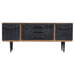 Mid-Century Modern Two-Toned Cerused Black and Natural Wood Credenza / Sideboard