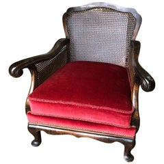 Red Velvet Carved Bergère Armchair Louis XIV Cane Back Classical French Country