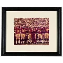 1970s USC Trojans Football Photograph with Coach John McKay, Newly Framed