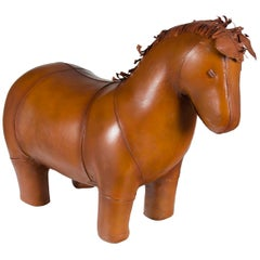 Real Leather Horse Pony Animal Footstool Ottoman