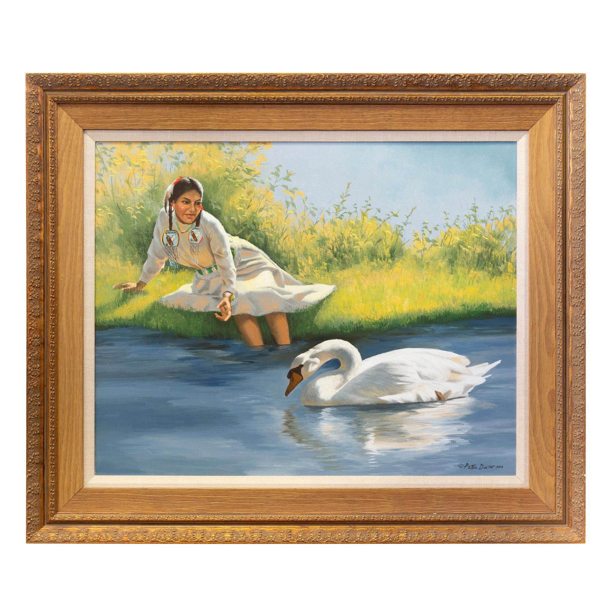 """""""Girl with Swan"""" Original Oil Painting by Peter Darro"""