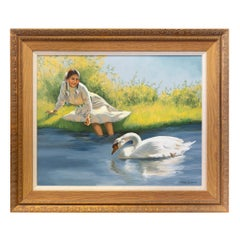 """Girl with Swan"" Original Oil Painting by Peter Darro"