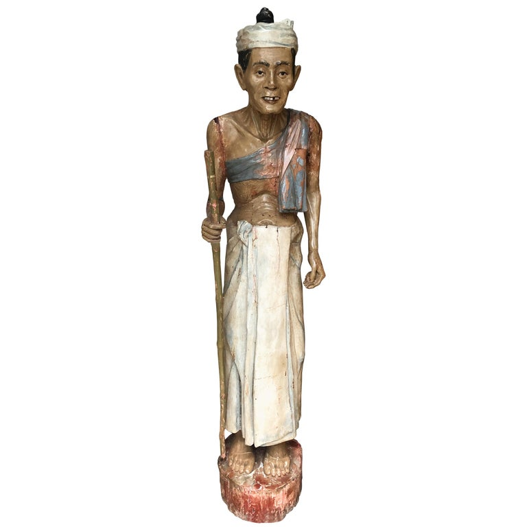 Antique Folk Art Carved Gesso over Wood and Hand Painted Native Man Statue For Sale