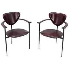 Two Arrben Stiletto Armchairs in Black Cherry Leather, 1970s