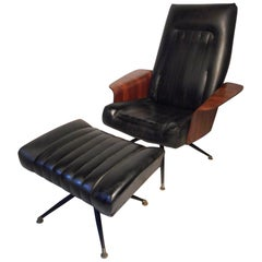 Mid-Century Modern Vinyl Swivelling Chair and Ottoman