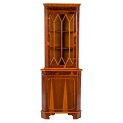 Yew Wood Corner Cabinet Single Door Cupboard Hutch