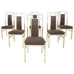 Set of 6 Hollywood Regency Dining Chairs, Italy, 1970s