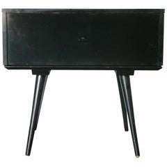 Midcentury Paul McCobb Single Drawer #1500 Nightstand Black Maple T Pull