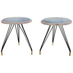 Pair of Mid-Century Modern Upholstered Stools