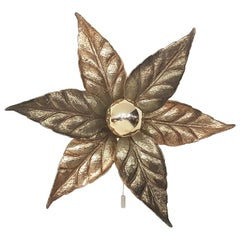 "Hollywood Regency ""Flower"" Wall or Ceiling Light by Willy Daro, Belgium, 1970s"