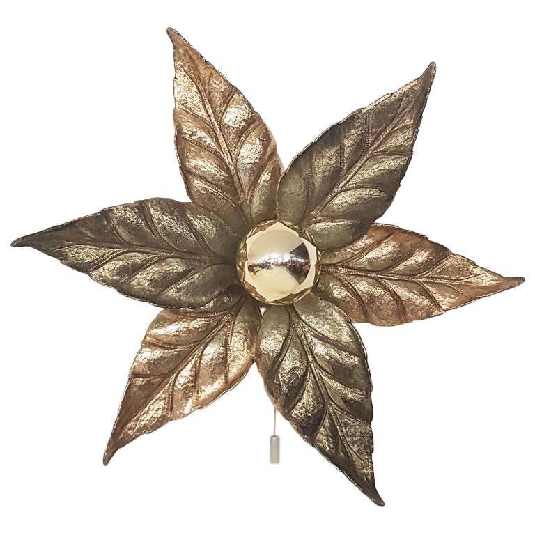 """Hollywood Regency """"Flower"""" Wall or Ceiling Light by Willy Daro, Belgium, 1970s For Sale"""