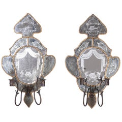 Pair of Antique Venetian Mirrored Wall Sconces