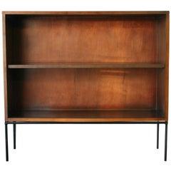 Midcentury Paul McCobb Single Bookcase #1515 Walnut Finish Glass Doors Iron Base
