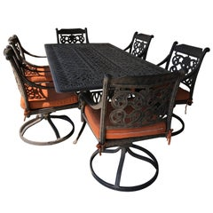 Let's Have a Party Large Cast Aluminum Patio Dining Table and 6 Armchairs