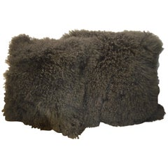 Large Fluffy Grey Decorative Pillows Made with a Curly Lamb's Wool Skin