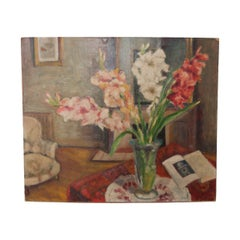 French Vintage Still Life Oil on Canvas