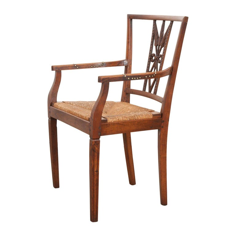 Rare French 19th Century Louis XVI-Style Rush-Seat Armchair For Sale