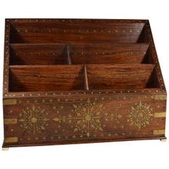 Letter Rack with Moorish Inlaid Brass Designs