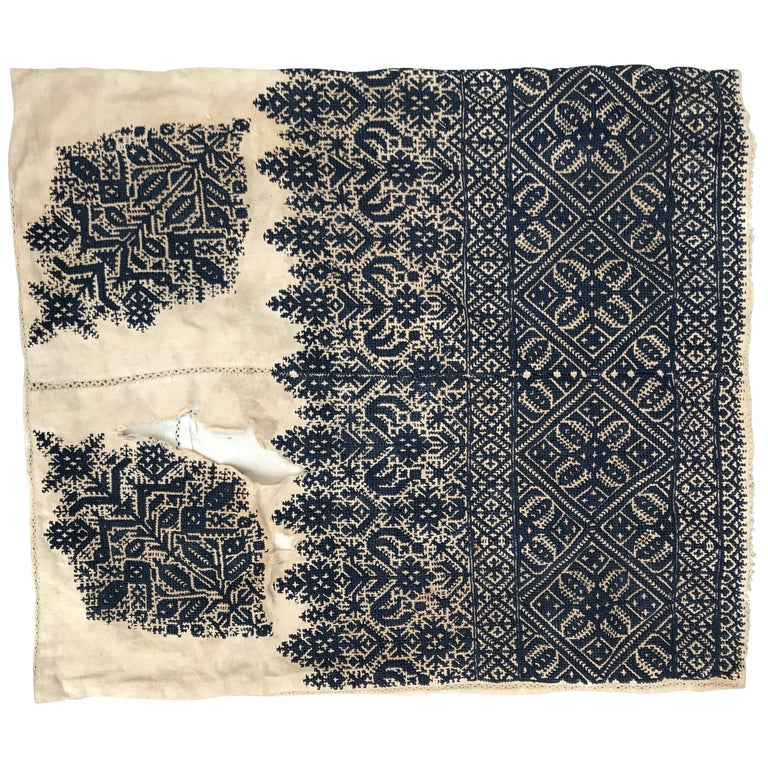 Antique Moroccan Fez Embroidery for Pillow For Sale
