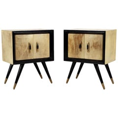 Pair Mid-Century Modern Ebonized Wood and Parchment Side Cabinets