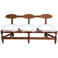 Guillerme and Chambron Midcentury Solid Oak Thee Seats Bench, Votre Maison, 1960