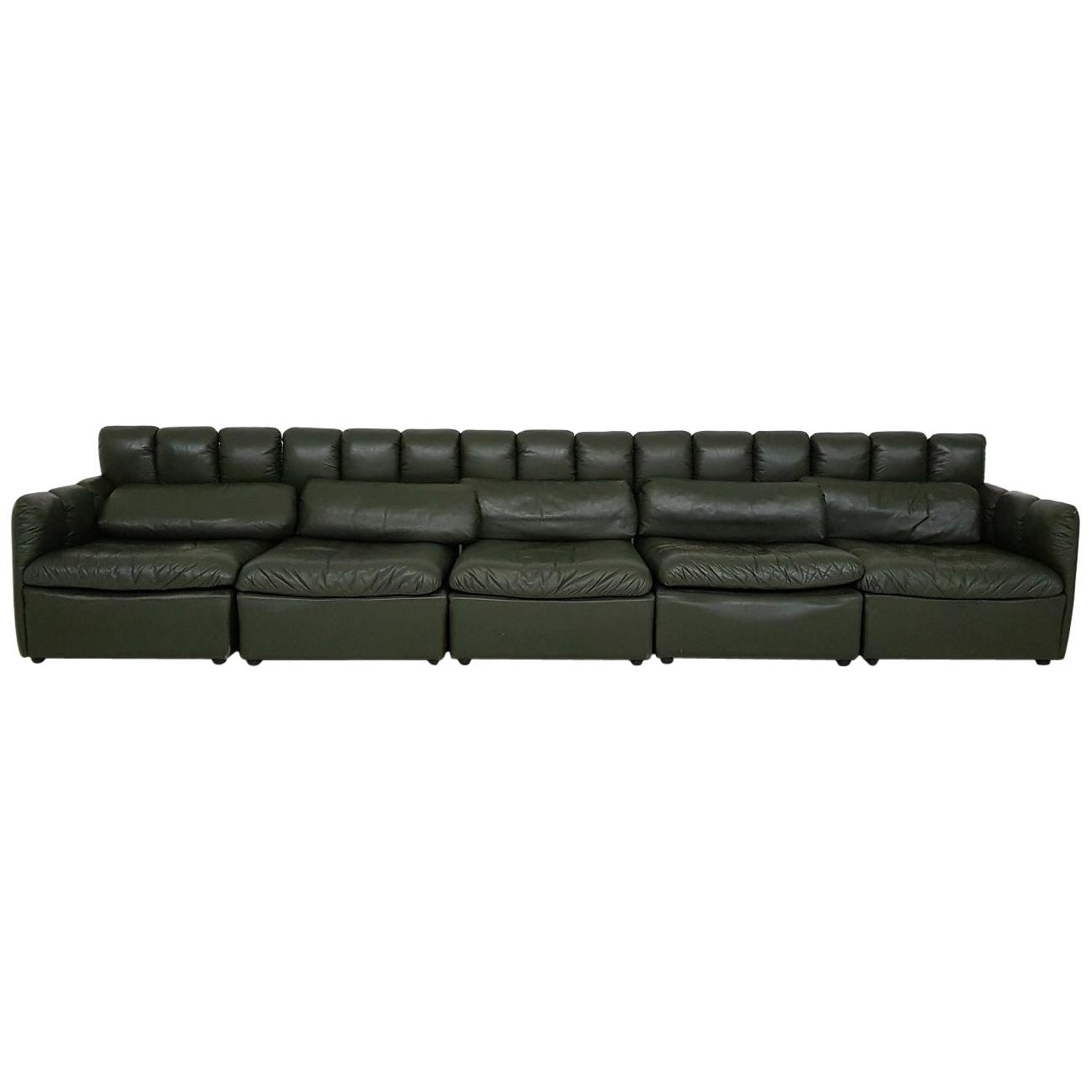 Large De Sede Style Dark Green Leather Modular Sofa Germany 1960 S At 1stdibs