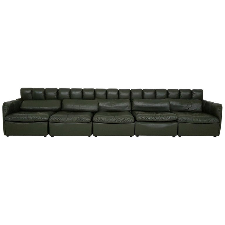 """Large """"De Sede Style"""" Dark Green Leather Modular Sofa, Germany 1960's  For Sale"""