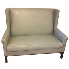 Hickory Co Charles Stewart Linen Chippendale Style Settee or Loveseat