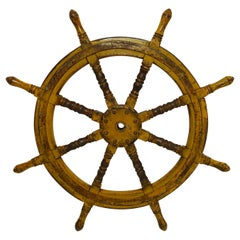 Yellow Painted Ships Wheel, 19th Century