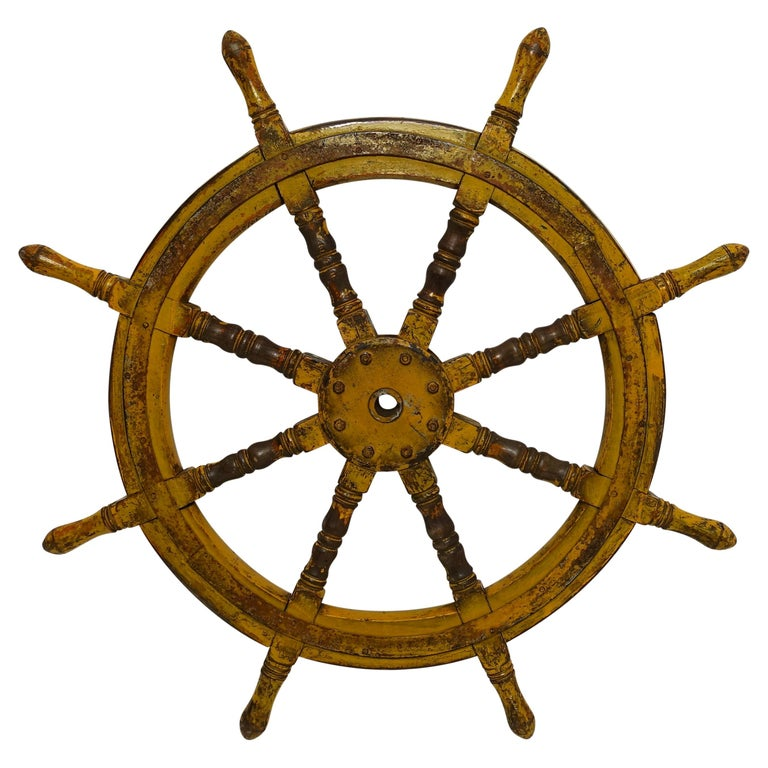 Yellow Painted Ships Wheel, 19th Century For Sale