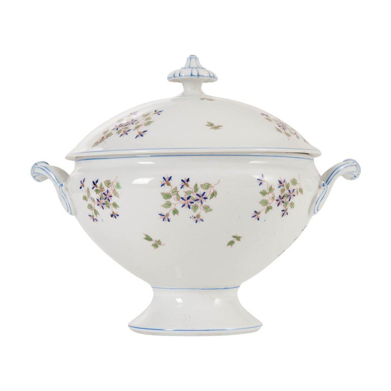 "French Old Paris Porcelain ""Cornflower"" Pattern Tureen For Sale"