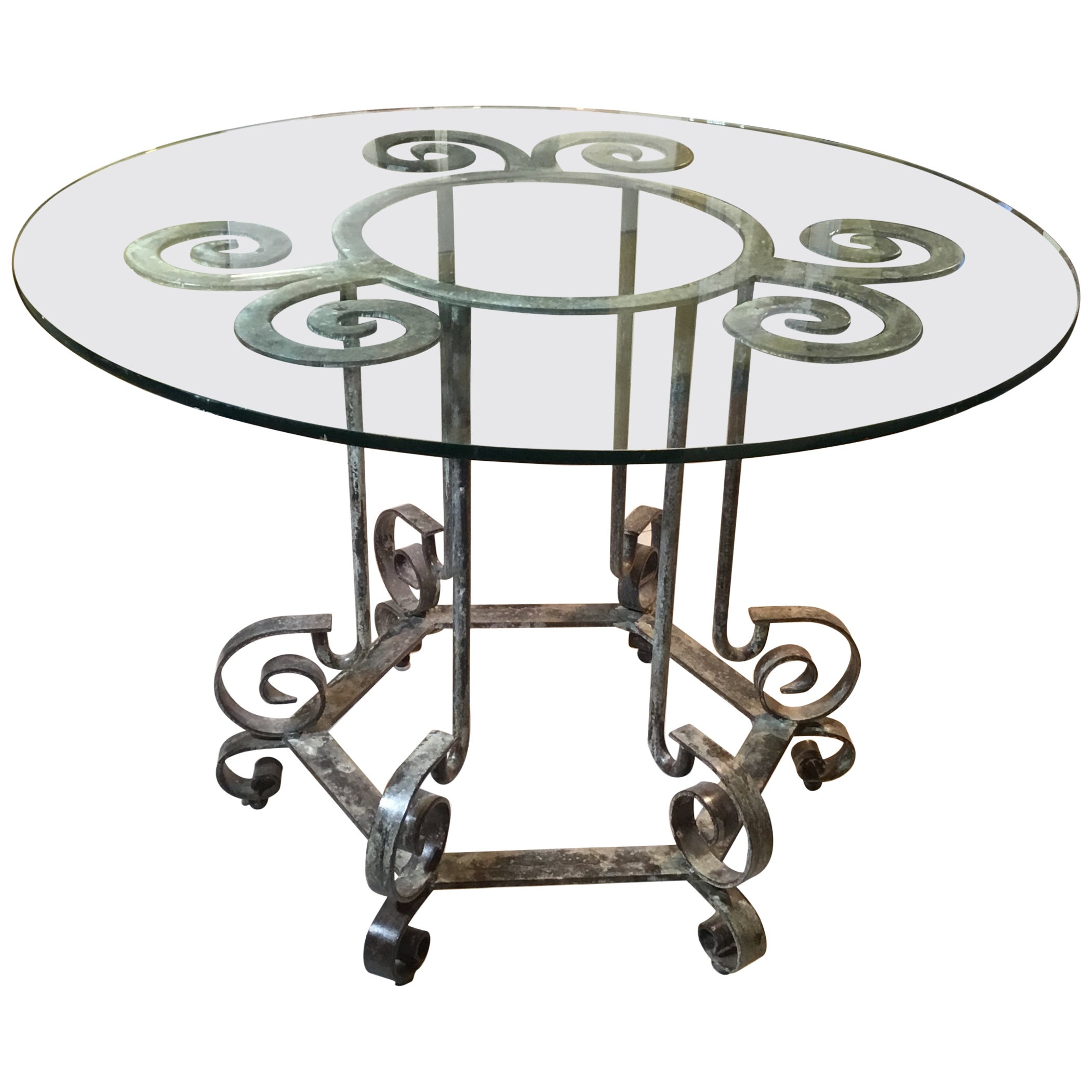 One of a Kind Iron Spiral Top Center Table