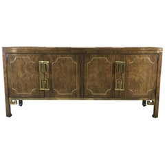 Mastercraft Burl and Brass Sideboard Buffet