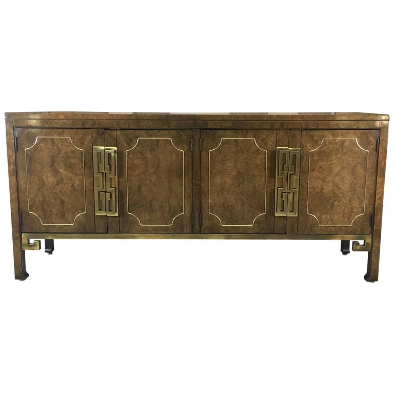 Mastercraft Burl and Brass Sideboard Buffet For Sale