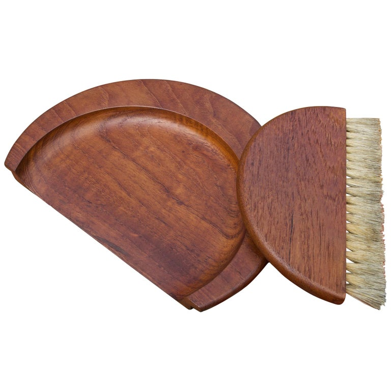 1950s Kay Bojesen Danish Teak Dust Bin Crumb Sweeper Set For Sale