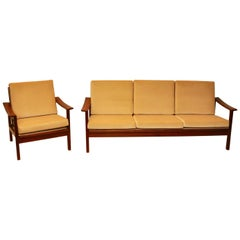 Danish Modern Teak Sofa and Chair Set