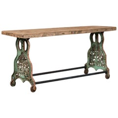 Industrial Antique Console Table With Cast Iron Legs