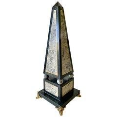Maitland Smith Tessellated Black Marble Obelisk