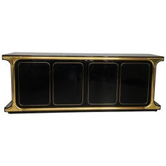 Monumental Black Lacquer and Brass Credenza by Mastercraft