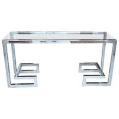 Chrome and Glass Console Table in the Style of Milo Baughman