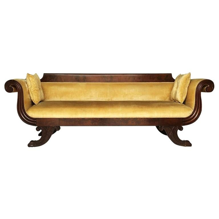 Classic Mahogany Grecian Sofa in Yellow For Sale