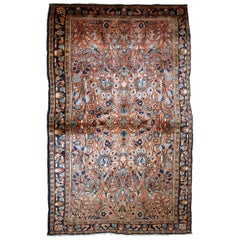 Handmade Antique Sarouk Style Rug, 1920s, 1B743