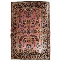 Handmade Antique Sarouk Style Rug, 1920s, 1B745