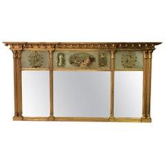 American Federal/ Sheraton Reverse Painted Giltwood Églomisé Mirror, Empire