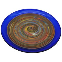 "Modern Murano Glass Centerpiece/Platter with Blue ""Incalmo"" by Cenedese, 1990s"