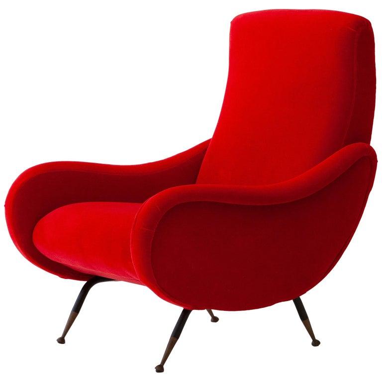 Italian Modern Red Velvet Armchair, 1950s For Sale
